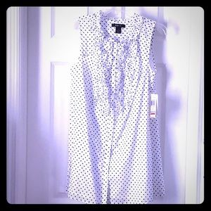 Stunning polka dot and ruffle sleeveless blouse